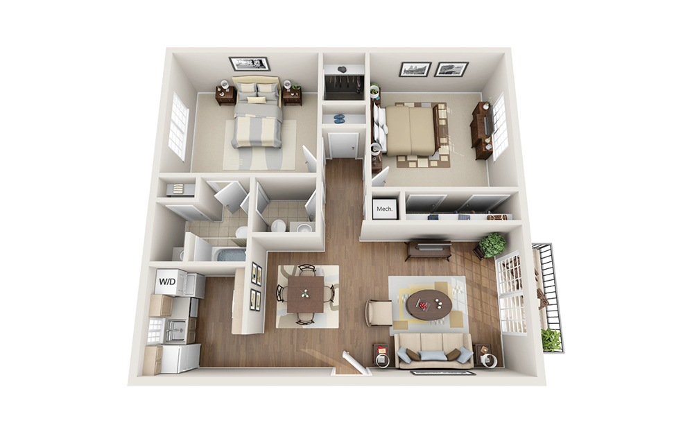 2 Bedroom - 2 bedroom floorplan layout with 1.5 bath and 1050 square feet.